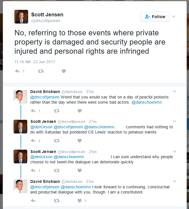 Screenshot: Senator Scott Jensen Tweet Exchange